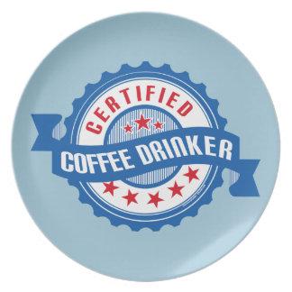 Bebedor certificado del café plato de comida