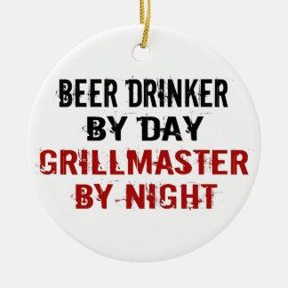 Bebedor de cerveza de Grillmaster Adorno Navideño Redondo De Cerámica