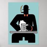 Bebedor de cerveza del art déco poster
