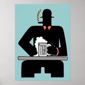 Bebedor de cerveza del art déco póster