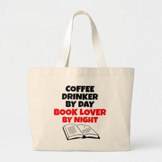 Bebedor del café del aficionado a los libros bolsa tela grande
