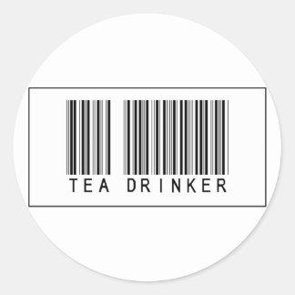 Bebedor del té del código de barras pegatina redonda