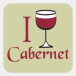 Bebedor del vino de Cabernet Calcomania Cuadrada Personalizada