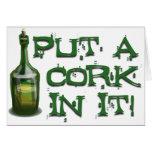 ¡Bebedor del vino - ponga un CORCHO en él! Tarjetón