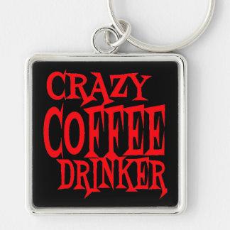 Bebedor loco del café llavero cuadrado plateado