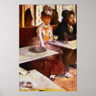 Bebedores del ajenjo de Edgar Degas Póster