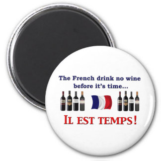 Bebedores del vino francés imán redondo 5 cm
