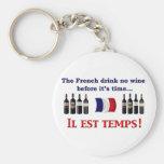 Bebedores del vino francés llavero