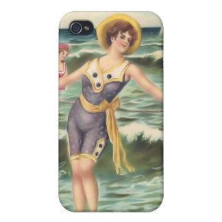 Bebés 4 de la playa del bañista de Sun del vintage iPhone 4 Cárcasa