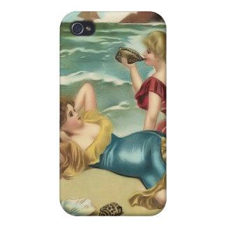 Bebés 4 de la playa del bañista de Sun del vintage iPhone 4 Fundas