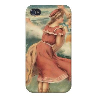 Bebés 4 de la playa del bañista de Sun del vintage iPhone 4 Cobertura