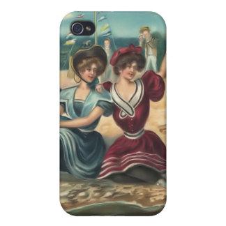 Bebés 4 de la playa del bañista de Sun del vintage iPhone 4 Carcasas