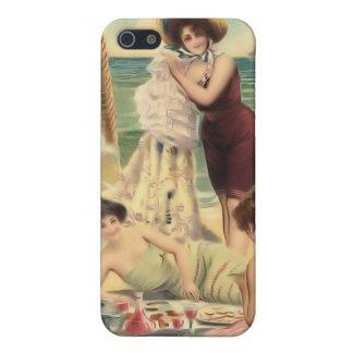 Bebés 4 de la playa del bañista de Sun del vintage iPhone 5 Protectores