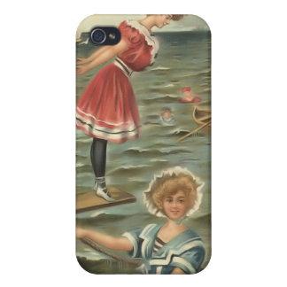 Bebés 4 de la playa del bañista de Sun del vintage iPhone 4 Carcasa