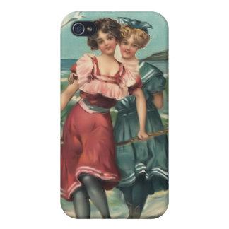 Bebés 4 de la playa del bañista de Sun del vintage iPhone 4/4S Carcasas