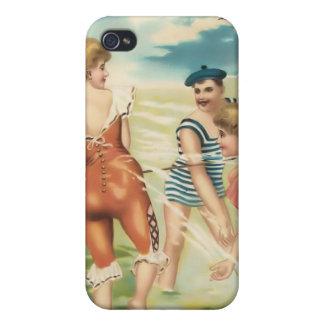 Bebés 4 de la playa del bañista de Sun del vintage iPhone 4 Funda