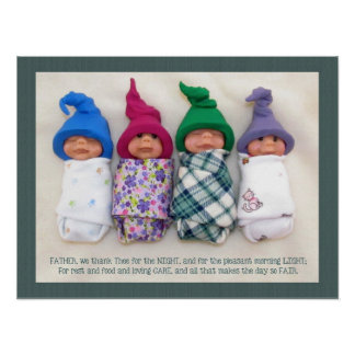 Bebés de la arcilla del polímero con la mañana de  póster