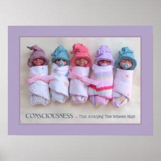 Bebés de la arcilla: Esculturas, con cita divertid Póster