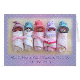 Bebés de la arcilla: Gracias a mi partera: Tarjeta De Felicitación
