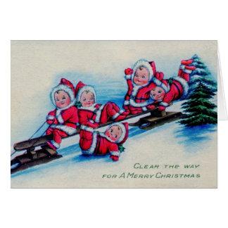 Bebés del navidad del vintage tarjeta de felicitación