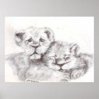 Bebés del parque zoológico póster