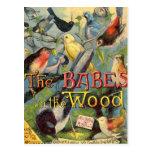 Bebés en la madera tarjetas postales