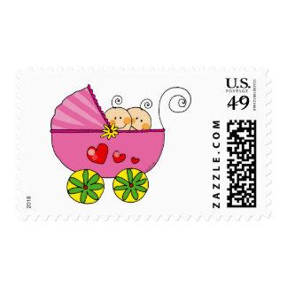 Bebés gemelos del chica sello postal