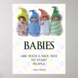 Bebés poster, regalo de la partera, bebés de la póster