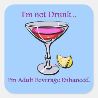 Bebida adulta aumentada pegatinas cuadradas personalizadas