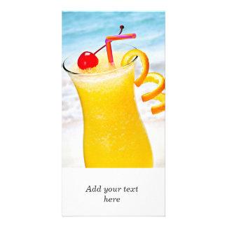 Bebida anaranjada congelada tarjetas personales con fotos