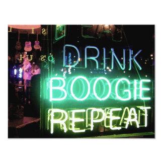 """¡Bebida, boogie, repetición! Invitación 4.25"""" X 5.5"""""""