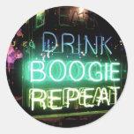 ¡Bebida, boogie, repetición! Pegatinas Redondas