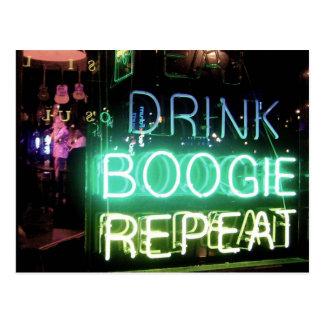 ¡Bebida, boogie, repetición! Postal