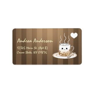 Bebida caliente del cacao del kawaii lindo etiquetas de dirección
