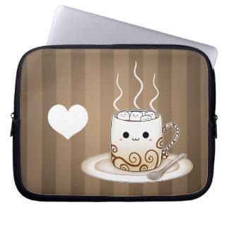Bebida caliente del cacao del kawaii lindo funda portátil