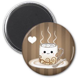 Bebida caliente del cacao del kawaii lindo imán redondo 5 cm