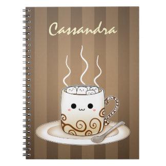 Bebida caliente del cacao del kawaii lindo libro de apuntes