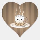 Bebida caliente del cacao del kawaii lindo pegatina en forma de corazón
