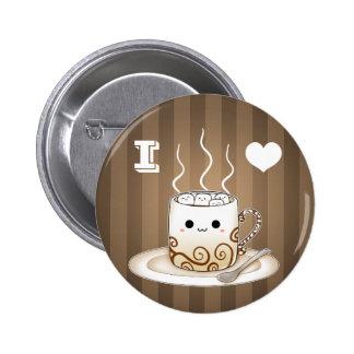 Bebida caliente del cacao del kawaii lindo pin redondo de 2 pulgadas