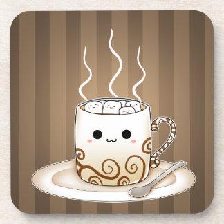 Bebida caliente del cacao del kawaii lindo posavasos de bebida