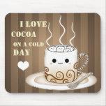 Bebida caliente del cacao del kawaii lindo mousepad