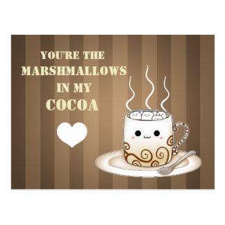 Bebida caliente del cacao del kawaii lindo postal