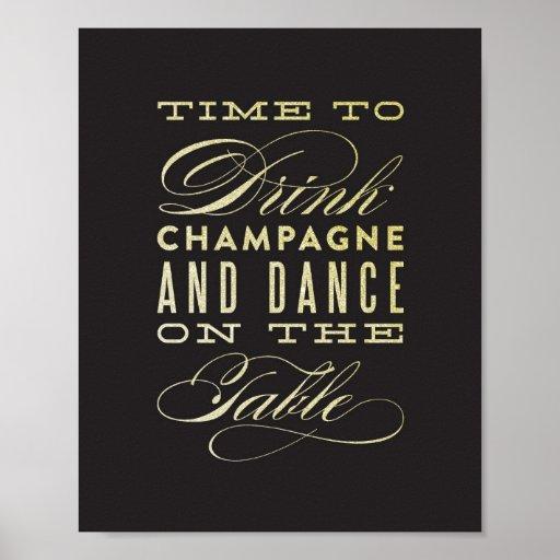 Bebida Champán y danza en la impresión del arte de