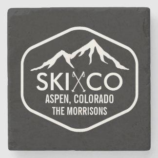 Bebida de encargo de la montaña del esquí de Aspen Posavasos De Piedra