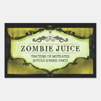 Bebida de Halloween o amarillo grande de las Rectangular Pegatinas