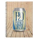 bebida de la energía de h2o libretas