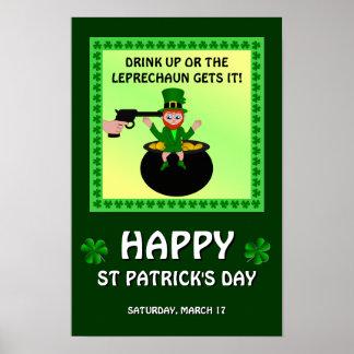 Bebida del día de St Patrick feliz encima del Póster