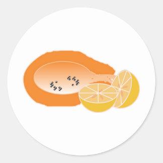 bebida del mamao e laranja fruta de fazer vitamina pegatina redonda
