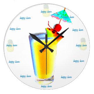 Bebida del paraguas de la hora feliz reloj redondo grande