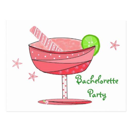 Bebida del rosa del fiesta de Bachelorette Tarjetas Postales